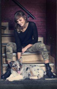 woman playing dog