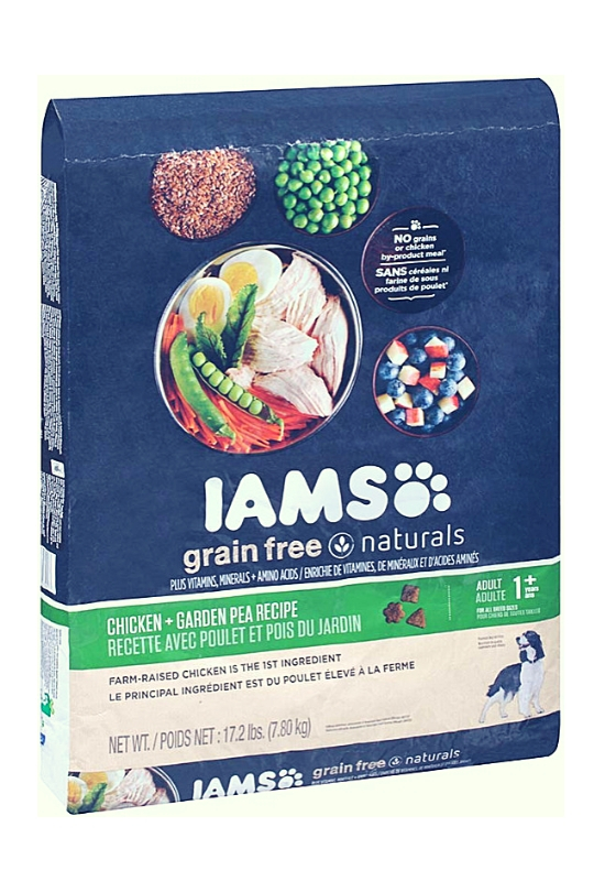 IAMS GRAIN FREE NATURALS Adult Dog Chicken and Garden Pea Recipe Dry Dog Food 17.2