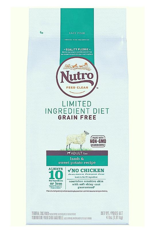 Nutro Limited Ingredient Diet Grain Free Lamb & Sweet Potato Recipe Dog Food 4 Lbs