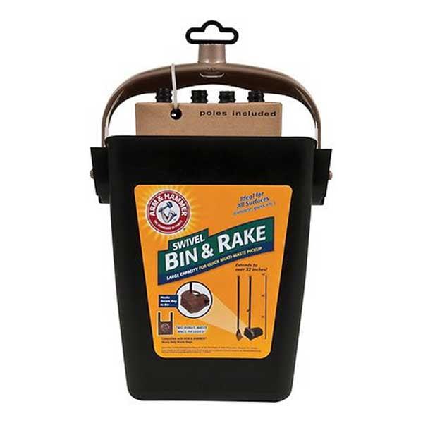 Arm & Hammer Swivel Bin & Rake Backyard Waste Pickup
