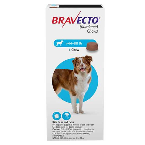 Bravecto Chews for Dogs, 44-88 lbs, 1 treatment