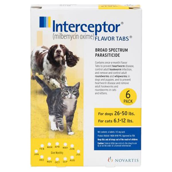 Interceptor Tablets for Dogs 26-50 lbs & Cats 6.1-12 lbs, 6 treatments