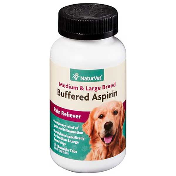 NaturVet Buffered Aspirin Pain Reliever for Medium & Large Breed Dog Chewables, 75 count