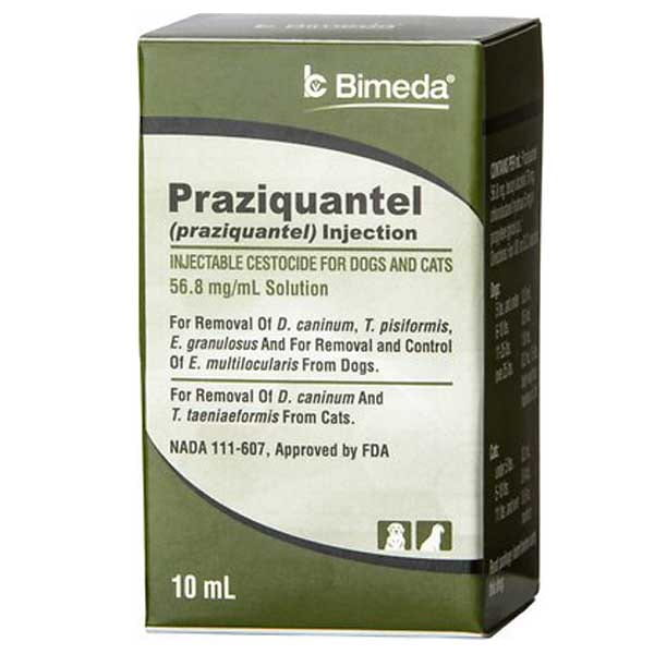 Praziquantel Injectable Solution for Dogs & Cats, 10-mL vial