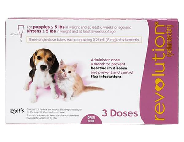 Revolution Topical Solution for Puppy & Kitten, under 5 lbs, 3 treatments